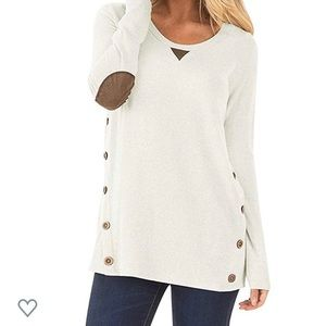 Long Sleeve Faux Suede Trimmed Shirt